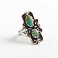 Vintage Sterling Silver Turquoise Green Double Stone Ring- Size 5 Retro Southwestern Native American Style Jewelry
