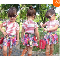 Girls 2 PC Short Sleeve Shirt and Floral Skirt