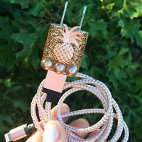 Rose Gold Pearl Pineapple iphone 5 6 7 Charger