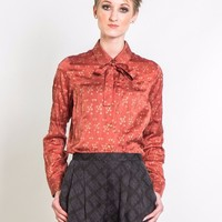 Triangulate Silk Blouse in Terra Cotta & Copper