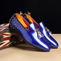 Fashion Slip-On Business Banquet Oxfords Sexy Rivet Flats Formal Dress Shoes