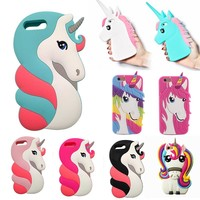 Fashion 3D Rainbow Unicorn Case Cover for Apple IPhone 6 6S Soft Silicon Gell Phone Coque for Iphone 6 6s Plus Shell Capa
