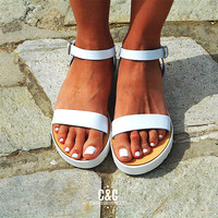 Leather women white Sandal shoes, summer sandals, leather shoes,white sandals, white sole