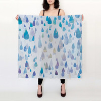 """100% SILK SCARF - Happy Rain Drops in shades of blue, purple, and green available in two sizes - 26""""x26"""" or 36""""x36"""" - Great Gift!"""