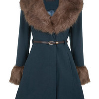 Forest Green Full Skirted Coat - Coats & Jackets - Apparel
