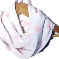 Heart Infinity Scarf - infinity scarf valentines day scarf pink heart scarf white scarf ladies scarf tube scarf circle scarf fashion scarf