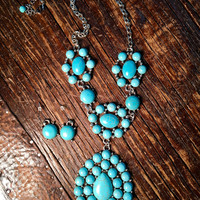 Turquoise tear drop necklace with earrings