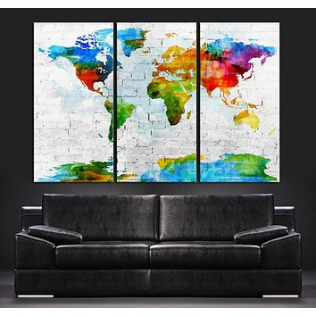 Pastel Colors Watercolor World Map Canvas Art Print Contemporary 3 Panel Triptych Colorful