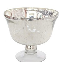 "Mercury Glass Pedestal Vase in Silver - 5.5"" Tall"
