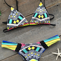 Cupshe Let Us Begin Colorful Bikini Set