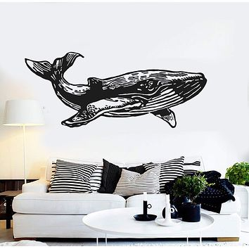 Vinyl Wall Decal Whale Marine Animal Ocean Decoration Bathroom Stickers Unique Gift (ig4391)