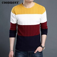 Thick Warm Pullover Men Winter New Striped O-Neck Sweater Men Soft Cashmere Knitwear Wool Sweaters