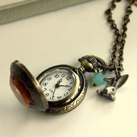 We are Late for Tea. A Rabbit Pocket Watch Necklace. Alice in Wonderland, Tim Burton Fan. Rabbit Lover. For Daughter. Unisex. Girlfriends.