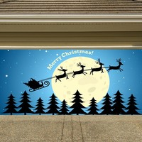 Christmas Garage Door Cover Banners 3d Merry Christmas Santa In A Sleigh Holiday Outside Decorations Outdoor Decor for Garage Door G83