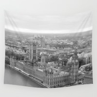London of Grey Winter Wall Tapestry by CABINWONDERLAND