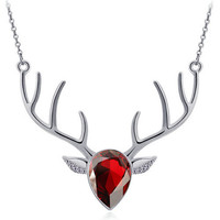 Red Pendant Antler Necklace