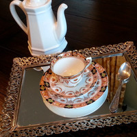 Royal Albert Crown China Devon Tea cup trio, tea cup and saucer set made for Lawleys, tea cup and saucer with dessert plate