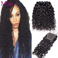 Mi Lisa Water Wave Bundles With Closure 3 Bundles Human Hair Weave With Lace Closure Non Remy Peruvian Hair Bundles With Closure