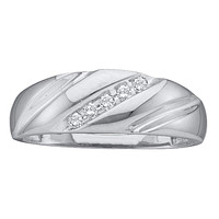 14k White Gold Round Channel-set Diamond Men's Lightweight Wedding Band 1/10 Cttw - FREE Shipping (US/CAN)