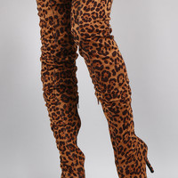 Leopard Pointy Toe Over-The-Knee Stiletto Boots