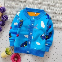 Autumn Winter Clothes For Baby Boys  Kid Car Plane Warm Sweaters 0-2years Toddler Boy Cardigan O-neck Thick Outerwear