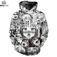 Anime Ahegao Hoodie Sweatshirt Men Women Fashion Autumn Winter Hip Hop Streetwear Hoody Hoodies Casual Male Tracksuit Dropship