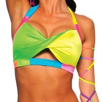 Neon Carnival Twist Top : Girls Rave Clothing from RaveReady