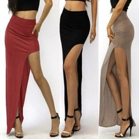 Fashion Women's High Waisted Side Open Long Maxi Dress Long Skirt = 5617691649