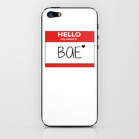 Hello My Name is Bae iPhone & iPod Skin by Poppo Inc.   Society6