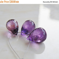 Super SALE Purple Amethyst Gemstone Faceted Teardrop Briolette 13.5mm 3 beads Focal