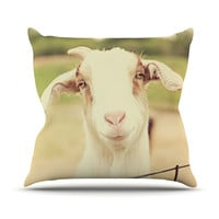 """Angie Turner """"Happy Goat"""" Smiling Animal Outdoor Throw Pillow"""