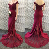 Luxury Burgundy 2017 Bridesmaid Dresses Honor Dresses For Wedding Party Lace Plus Size Pleat Vestido de Festa De Casamento