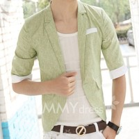 Fashion Refreshing Color Block Linen Splicing Lapel Three-Quarter Sleeve Slimming Polyester Blazer For Men