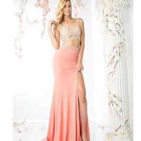 Coral Pink Two Piece Sexy Long Dress 2016 Prom Dresses