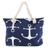 Anchors Aweigh - Large Canvas Beach Tote Bag - Navy with White Anchors - 21-in