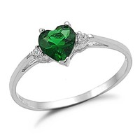 Sterling Silver Simulated Emerald Engagement Ring Sizes 3 to 12