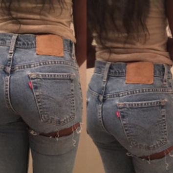 Vintage custom distressed faded BLACK High waisted butt rip slit jeans grunge denim MOM High rise