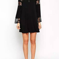 Black Boho Swing Dress with Long Sleeve And Lace Inserts