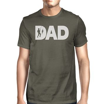 Dad Fish Mens Dark Grey Unique Design T-Shirt Gifts For Fishing Dad