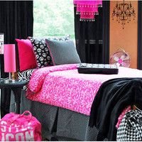 Girls College Dorm Bedding | Mademoiselle Dorm Bed Set | Custom Made Bed Linens