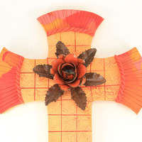 Vibrant Sunrise Cross, Shabby Chic, Mosaic Cross, Decorative Cross, Baptism, Confirmation, Wall Cross, Unique Cross,Easter Cross, Religious