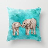 Baby Elephant Love - sepia on watercolor teal Throw Pillow by Perrin Le Feuvre