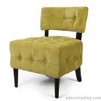Furnistar Side / Living room Velet Single Sofa with Solid wood legs Green Tufted European Style