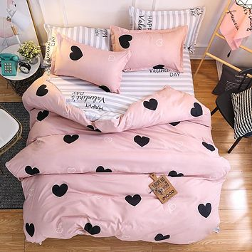 Pink Heart Bedding Sets Quilt Bed Pillow Duvet Cover Set Single/Double/Queen/King Size 3/4pcs Cartoon Home Textile Pillowcases