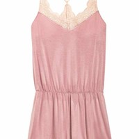 Playsuit with lace trims - Old rose - Ladies | H&M GB