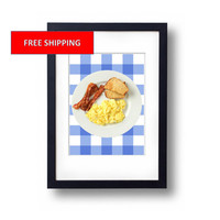 Ron Swanson Parks and Recreation Breakfast Poster NBC Rec Bacon Eggs Toast Collectible Print Collectors Art for Office or Home Nick Offerman