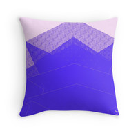 'Autumn Cool Blue Mountain Abstract' Throw Pillow by ANoelleJay