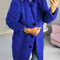 New Blue Buttons Turndown Collar Long Sleeve Oversize Teddy Coat