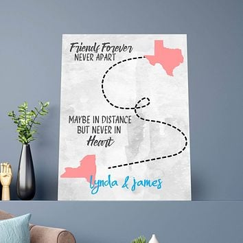 Long Distance Friendship Custom Canvas Set