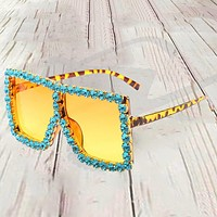 New big frame sunglasses personality diamond-studded Cool big frame sunglasses Yellow